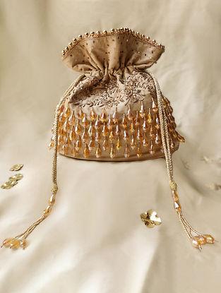 Gold Hand Embroidered Crepe Potli