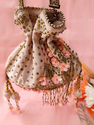 Peach Hand Embroidered Dupion Silk Potli