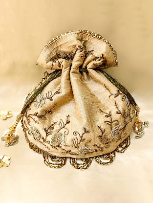 Gold Hand Embroidered Dupion Silk Potli