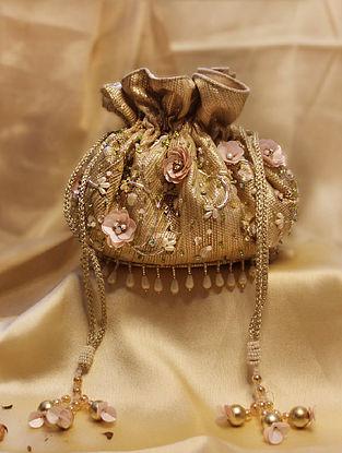 Gold Hand Embroidered Velvet Potli