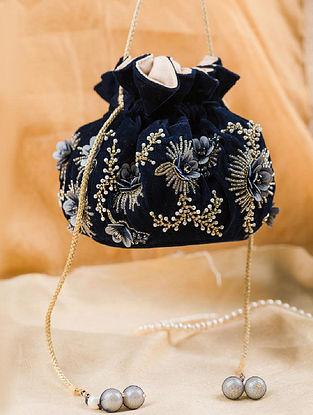 Blue Hand Embroidered Velvet Potli