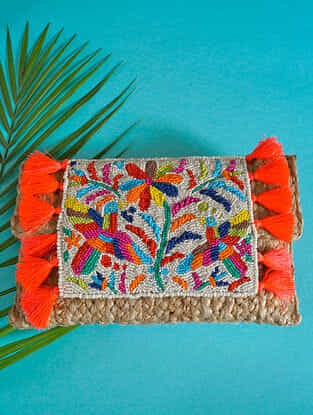 Multicolored Handcrafted Beaded Jute Sling Bag
