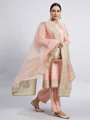 Naazira Pink Hand Embroidered Chanderi Silk Kurta with Dogri Salwar and Dupatta