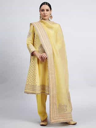 Naazira Yellow Hand Embroidered Chanderi Silk Kurta with Dogri Salwar and Dupatta