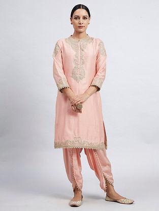 Aabisah Pink Hand Embroidered Chanderi Silk Kurta with Dhoti