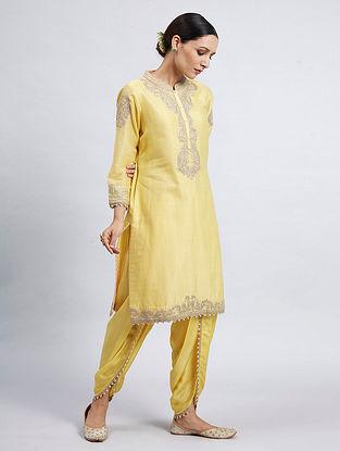 Aabisah Yellow Hand Embroidered Chanderi Silk Kurta with Dhoti