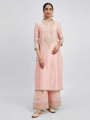 Aadah Pink Hand Embroidered Chanderi Silk Kurta with Palazzos