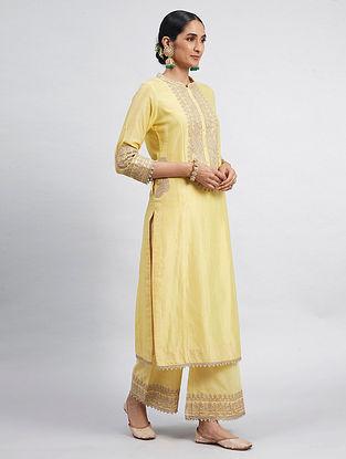 Aadirah Yellow Hand Embroidered Chanderi Silk Kurta with Palazzos