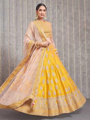 Varisha Mustard and Pink Hand Embroidered Raw Silk Blouse with Lehenga and Dupatta