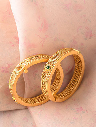 Green Gold Tone Handcrafted Bangle (Bangle Size-2/4)