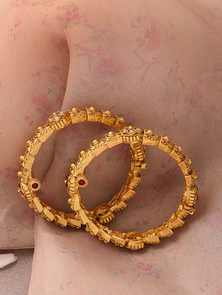 Red White Gold Tone Temple Work Bangles (Bangle Size-2/4)