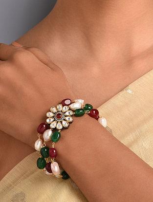 Multicolored Gold Tone Kundan Bracelet
