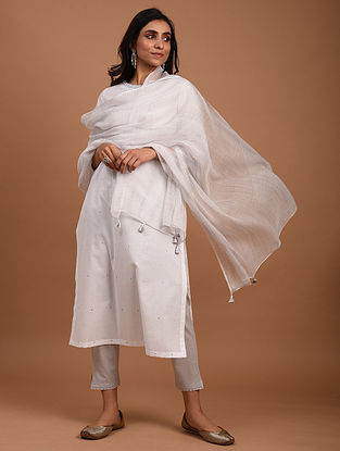 Grey And White Tie and Dye Kota Doriya Dupatta