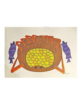 Multicolor Ocean Friends Gond Art On Paper (L-10in, W-14in)