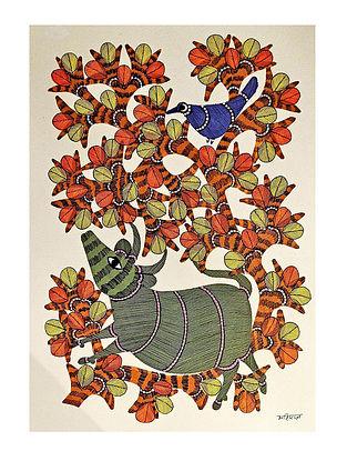 Multicolor Hide-and-Seek Gond Art On Paper (L-14in, W-10in)