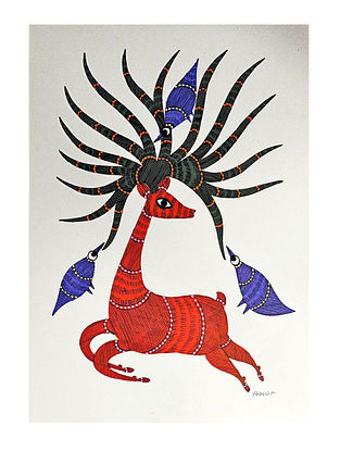 Multicolor Sheltering Antlers Gond Art On Paper (L-14in, W-10in)