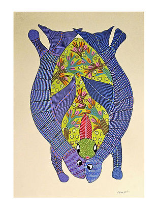 Multicolor Lucky Turtle Gond Art On Paper (L-14in, W-10in)