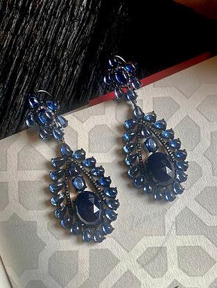 Blue Polki Diamond Silver Earrings with Sapphire