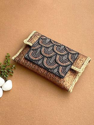 Copper Black Handcrafted Beaded Jute Sling Bag