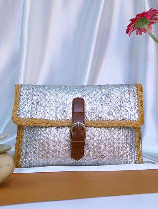 Sliver Handcrafted Jute Sling Bag