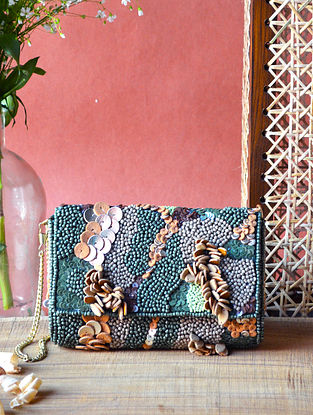 Multicolored Handcrafted Embellished Canvas Clutch