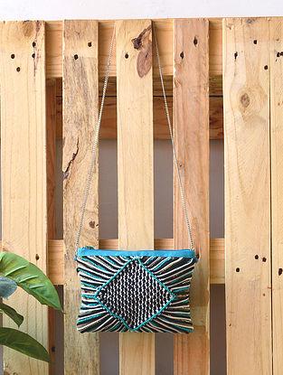 Turquoise Black Handcrafted Beaded Macrame Sling Bag