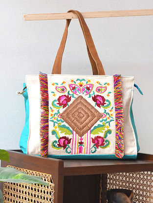 Multicolored Hand Embroidered Canvas Tote Bag