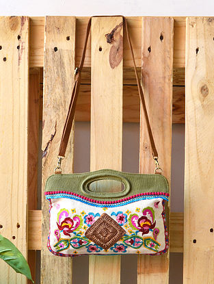 Multicolored Hand Embroidered Canvas Sling Bag