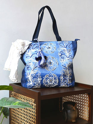 Blue Hand Embroidered Cotton Tote Bag