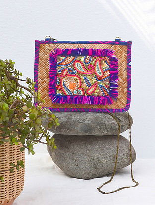 Multicolored Handcrafted Beaded Straw Jacquard Sling Bag