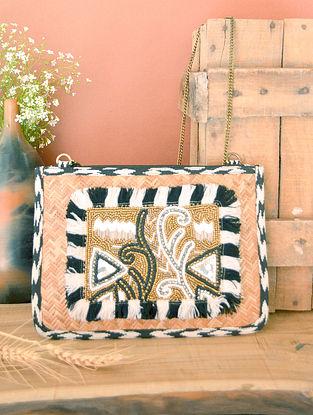 Black White Handcrafted Beaded Straw Jacquard Sling Bag