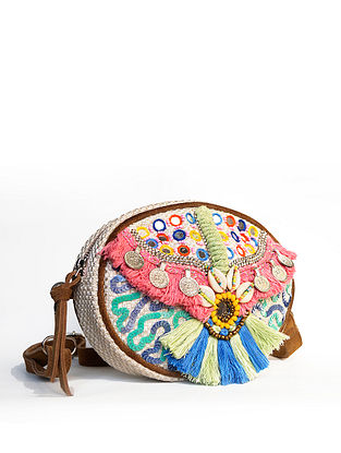 Multicolored Handcrafted Jute Waist Bag