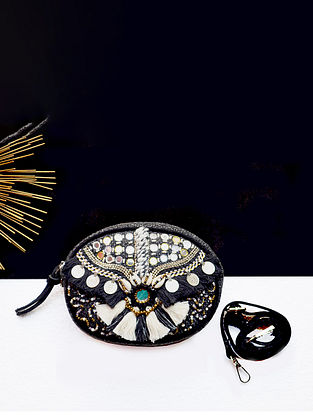 Black Handcrafted Jute Waist Bag