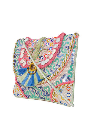 Multicolored Handcrafted Jute Sling Bag