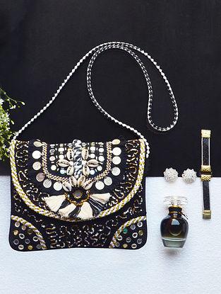 Black Handcrafted Jute Sling Bag