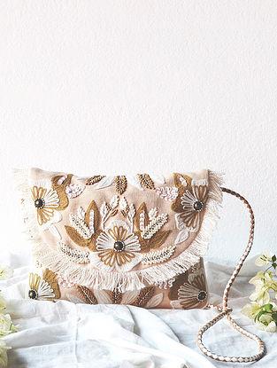 Beige Handcrafted Beaded Cotton Jute Sling Bag