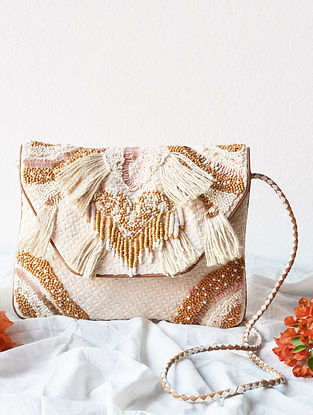 Ivory Handcrafted Beaded Cotton Sling Bag