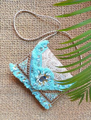 Blue Handcrafted Jute Sling Bag