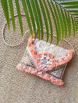 Orange Handcrafted Jute Sling Bag