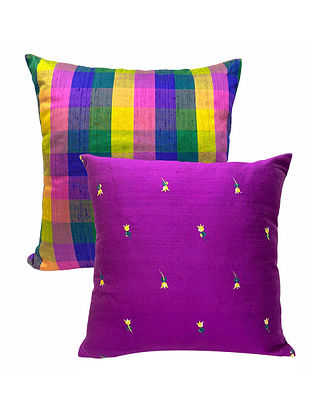 Quirky Combo Of Raw Silk Dupion Cushion Covers (Set Of 2)