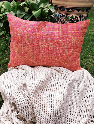 Pink Raw Silk Handwoven Pillow Cover (Set Of 2)