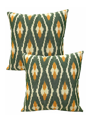Green And Yellow Ikat Cushion Cover (Set Of 2)