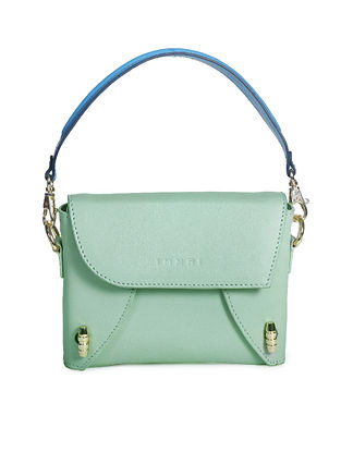 Mint Green Hhandcrafted Genuine Leather Clutch