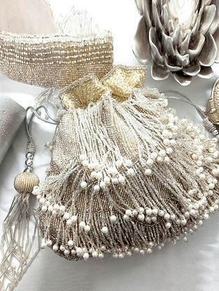 Silver Handcrafted Beaded Silk Potli