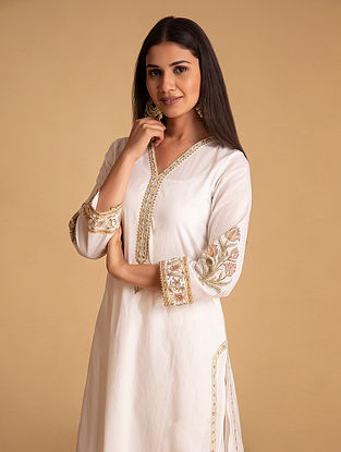 Off White and Yellow Block Printed Cotton Kurta with Hand Embroidery