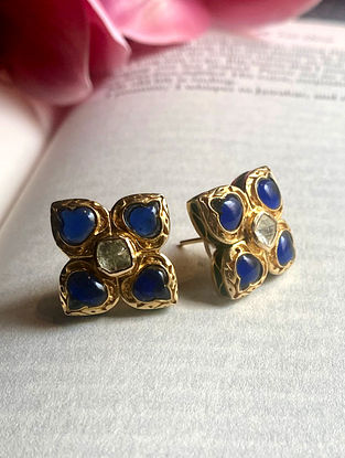 Blue Enameled Polki Diamond Silver Earrings
