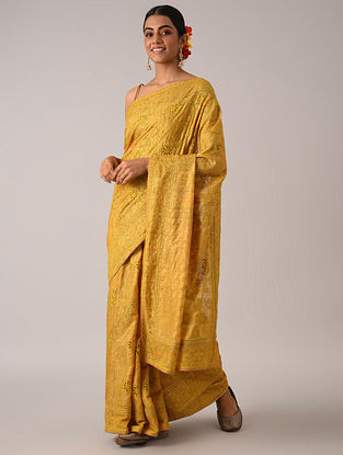 Yellow Bakhiya Chikankari Tussar Silk Saree
