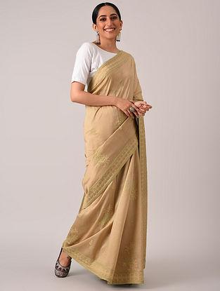 Brown Bakhiya Chikankari Chanderi Silk Saree