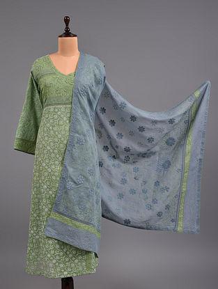 Green  Chikankari Kota Doria Suit