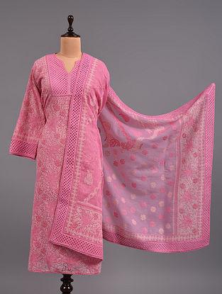 Pink Chikankari Kota Doria Suit